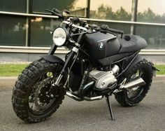 Lazareth is a highly-skilled custom vehicle workshop based in France. Their latest creation is this BMW transformation, a beast of a bike halfway between a scrambler and a cafe racer. With a minimal look, the bike was stripped to it´s essentia Bmw Scrambler, Motos Bmw, Scrambler Custom, Cool Motorcycles, Bobber Bikes, Bmw Boxer, Custom Bmw, Custom Bikes, Custom Cycles