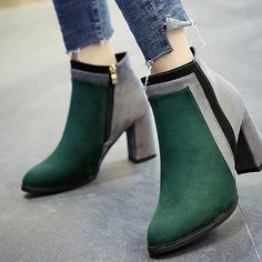 0d9dcc8c1b4209 Winter and Winter New Color Textured Suede Side Zipper Heel Pointed Fashion Short  Boots - Green - 39 - GREEN 39