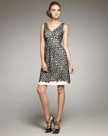 Lela Rose Lace Overlay Linen Dress
