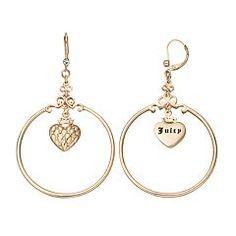 Juicy Couture Heart Hoop Drop Earrings
