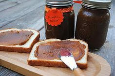 """Pumpkin Butter Recipe:      29 oz can pumpkin puree  3/4 cup apple cider  1 cup sugar  1 cup brown sugar  1 tsp nutmeg  2 1/2 tsp cinnamon  1/2 tsp ground cloves  2 tsp ground ginger  In large saucepan mix all ingredients together. On medium heat, bring mixture to a boil. Continue to simmer (on low-medium) heat for one hour, stirring occasionally.      Remove from heat and allow to cool. Pour into mason jars and refrigerate for 12-24 hours. Enjoy cold!       *note*  Do not attempt to """"can""""…"""