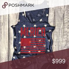 """🇺🇸Just in🇺🇸 Merica' Racerback tank. Fit TTS in my opinion. Medium measures approximately 27.5"""" long and 18.5"""" across the chest. Tank is almost a heathered navy blue. I took a close up. I love this tank!! Tops Tank Tops"""
