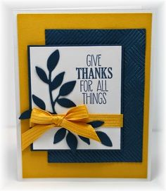 Stampin' Up! handmade card from Scrappin' and Stampin' in GJ . navy, mustard and white . strong graphic lines . embossing folder texture on one panel . Homemade Greeting Cards, Greeting Cards Handmade, Homemade Cards, Fall Cards, Holiday Cards, Verses For Cards, Thanksgiving Cards, Fall Pumpkins, Stampin Up Cards