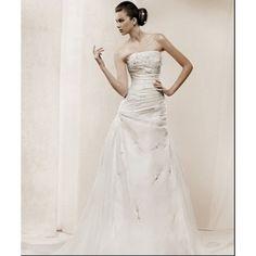 Organza Strapless Straight Neckline with Appliques Beading Rouched Designer Elegant Wedding Gown WD-0488 - Wedding Gowns & Dresses - Wedding Dresses Online Shop [#10359] - $193.03