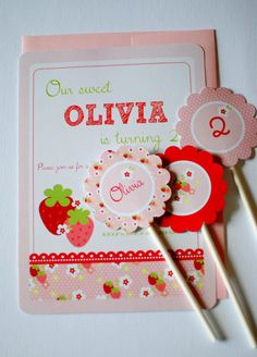 Strawberry Picnic Birthday Party Printable Invitation