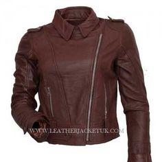 Best Sale Offer 50% Discount women biker leather brown jacket at leatherjacketuk.com
