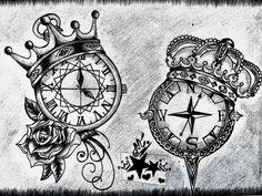 57 Ideas For Tattoo Compass Color Tatoo Trendy Tattoos, Unique Tattoos, New Tattoos, Tattoos For Guys, Tatoos, Badass Tattoos, Creative Tattoos, Skull Tattoos, Arrow Tattoos