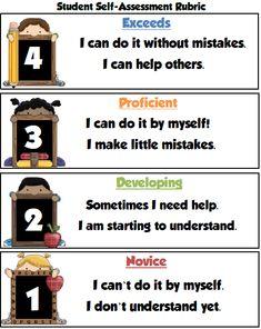 Freebie! Self-Assessment Rubric #mathresourseforteachers
