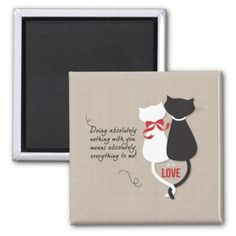 Cats in Love Magnet - anniversary gifts ideas diy celebration cyo unique Anniversary Crafts, Anniversary Cards For Husband, 1st Anniversary, Mother's Day Diy, Easter Crafts For Kids, Paper Cover, Craft Stick Crafts, Love Gifts, Cat Love