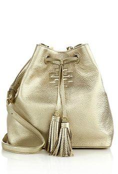 gold metallic bucket bag