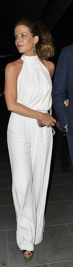 Who made Kate Beckinsale's white jumpsuit?