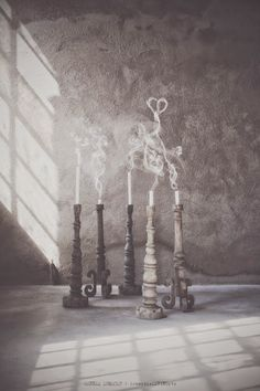 made from wood - chunky, rustic wooden candlesticks