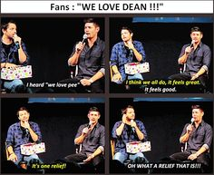 [SET OF GIFS] Misha and Jensen convention panel at #JIBCon2013