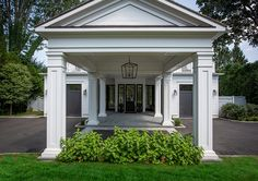 Classic home with Porte-cochère A timeless Porte-cochère extents the front por. Classic home with Carport Designs, Garage Design, Exterior Design, House Design, Porte Cochere, Garage Exterior, Exterior Doors, Car Garage, Classical Architecture