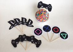Let's Party – Gaming – Building Our Happily Ever After PlayStation Birthday Party Cupcake Toppers, Video Game Party, Gamer Party, Gamer Birthday Cake, Gaming Party Toppers 10th Birthday, Birthday Party Themes, Birthday Cake, Cupcake Party, Party Cakes, Video Game Party, Video Game Cakes, Video Games, Game Themes