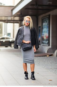 Angelica Blick - dress from ASOS, boot from Zara, jacket from Dagmar, bag from Calvin Klein and sunglasses from Ray-Ban.