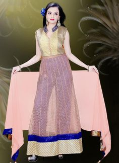 Shop for indian fashion online and get the clothes, outfits, and styles your next party and reception. Buy marvelous embroidered and lace work net readymade suit online.