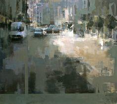 Ricardo Galan Urrejola City Landscape, Urban Landscape, Abstract Landscape, Landscape Paintings, Acrylic Painting Canvas, Canvas Art, Female Painters, Urban Painting, Street Painting
