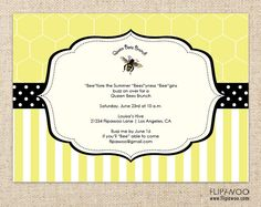 BeeThemed Shower Brunch or Birthday Party Invitation by flipawoo, $17.00