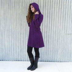 60ca864aae1 Winter Tunic Dress with Hood - Hemp & Organic Cotton Fleece Fall and Winter  Shift Dress in Red, Teal, Purple, or Black - Handmade