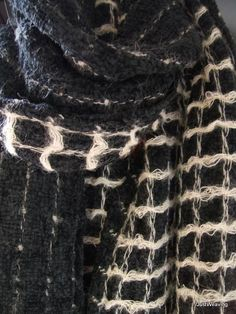 Black and winter white - Chenille and mohair handwoven wool scarf