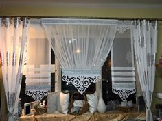 Curtains With Blinds, Window Curtains, Curtain Ties, Curtain Designs, Windows And Doors, Drapery, Window Treatments, Canopy, Living Room