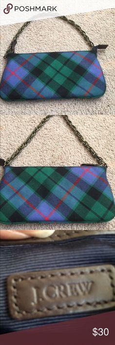 J. Crew plaid handbag. Shoulder chain. J. Crew shoulder chain plaid handbag. Colors are blue, green and red. J. Crew Bags Mini Bags