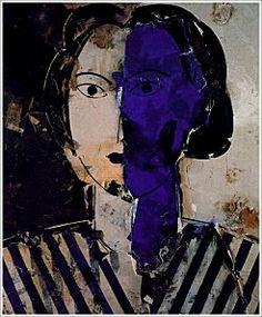 MANUEL VALDES.  Retrato con azul, ocre y blanco (1997). Óleo sobre arpILLERA