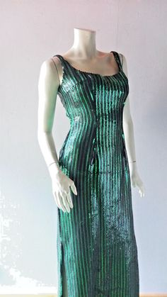 5ea69502063 Emerald Green Sexy Sequin Gown sz 4 6 8 Bombshell Retro Hollywood Red  Carpet  Handmade
