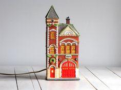 vintage red brick fire station  dept 56 by barleyandrye on Etsy, $22.00
