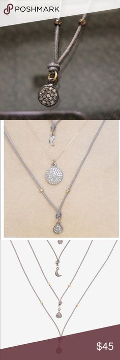 """NEW Circle DIAMOND 💎 La Soula Necklace 75%off!! La Soula Fly With Us Collection DIAMOND 💎 CIRCLE Necklace 75%off!! NWOT celebrity favorite like Kate Hudson Lucy Hale!! The charms are on an oxidized silver with dolphin grey color cotton cord and includes 22 karat gold nuggets. There is an adjustable sterling silver clasp allowing the length to range from 16"""" to 23"""" long or any length in between. La Soula Jewelry Necklaces"""