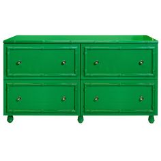 Green lacquer bamboo detailed 4 drawer dresser. All drawers on glides. Round glass knobs with nickel detailing.  New York Introduction!