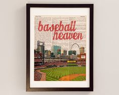 St. Louis Cardinals Dictionary Art Print - Baseball Heaven, Busch Stadium - Print on Vintage Dictionary Paper - Baseball Art