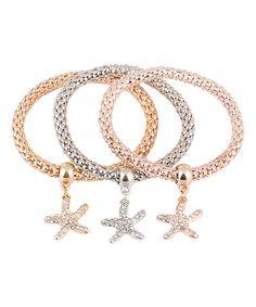 Another great find on #zulily! Tri-Tone Star Charm Stretch Bracelet Set #zulilyfinds