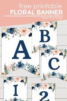 Blue and blush banner letters with the complete alphabet and numbers and signs so you can make any custom banner that you need for your event. #papertraildesign #blueandpinkbanner #floralbanner #bluefloralbanner Printable Crafts, Printable Paper, Free Printables, Blank Banner, Banner Letters, Thanksgiving Banner, Creative Party Ideas, Flower Alphabet, Floral Banners