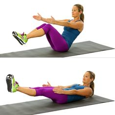 V-sits, similar to a modified boat pose in yoga. this exercise will test your balance while strengthening your core.