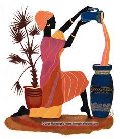 Pierrots, Harlequins, Columbines, Ethnic art, and Dancers African Artwork, African Art Paintings, Arte Tribal, Tribal Art, Mural Painting, Mural Art, African Logo, Art Africain, Africa Art