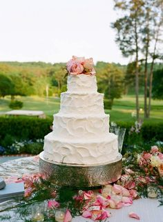 Outdoor reception with textured white brides cake, and blush pink rose toppers overlooking country club Country Wedding Cakes, White Wedding Cakes, Cool Wedding Cakes, Wedding Pins, Wedding Details, Dream Wedding, Country Weddings, Wedding Ideas, Wedding Shit