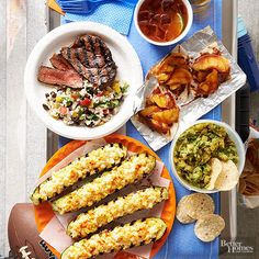 Hut, hut, hike! Switch up your game-day spread with street-food-style munchies for the win. This Mexican-inspired menu is perfect for tailgating -- it's an easy combination of make-ahead dishes and grilled recipes. Invite List: 4-6 Guest Type: Football fans/