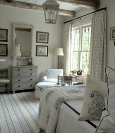 Cathy Kincaid farmhouse blue bedroom
