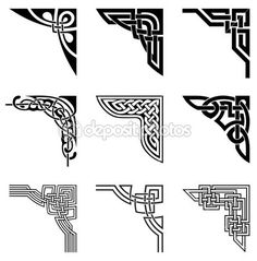 Illustration of set of ornamental corners in celtic style vector art, clipart and stock vectors. Celtic Symbols, Celtic Art, Celtic Dragon, Celtic Knots, Mayan Symbols, Egyptian Symbols, Ancient Symbols, Celtic Patterns, Celtic Designs