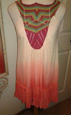 Free People Ladies Tunic Dress Metallic knit upper Tie dye SZ S Peach w/Multi #FreePeople #Tunic #Casual