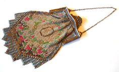 Whiting & Davis Painted Deco Mesh Handbag circa 1920s - Dorothea's Closet Vintage