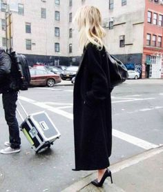 long black coat & pumps #style #fashion