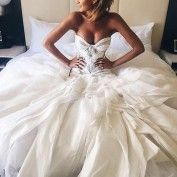 Fabulous Sweetheart Floor- Length Wedding Dress with White Lace