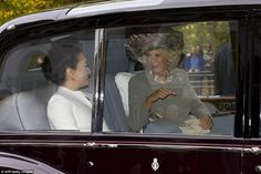 The Duchess of Cornwall was seen talking with president Xi's wife, Deng Liyuan, as they le...