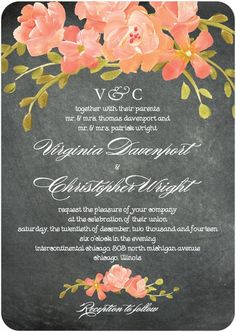Perfect for a romantic wedding featuring florals and soft vintage touches, this wedding invitation uses a chalkboard background to create a whimsical template. Find your perfect style for invitations, save the dates, and more at www.WeddingPaperDivas.com
