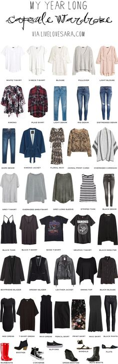 Year Long Capsule Wardrobe spring summer fall and winter #capsule #capsulewardrobe #wardrobe