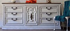 Dresser makeover. Antique white, distressed, stained top.