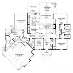 Home Plans HOMEPW75890 - 2,305 Square Feet, 3 Bedroom 2 Bathroom Craftsman Home with 2 Garage Bays